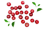 Cranberry decorated with green leaves isolated on white background closeup top view.