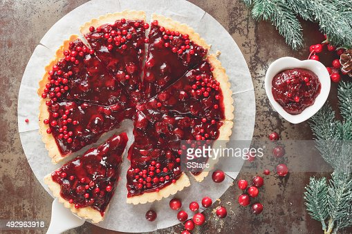 Cranberry Tart with browned butter crust : Stock Photo