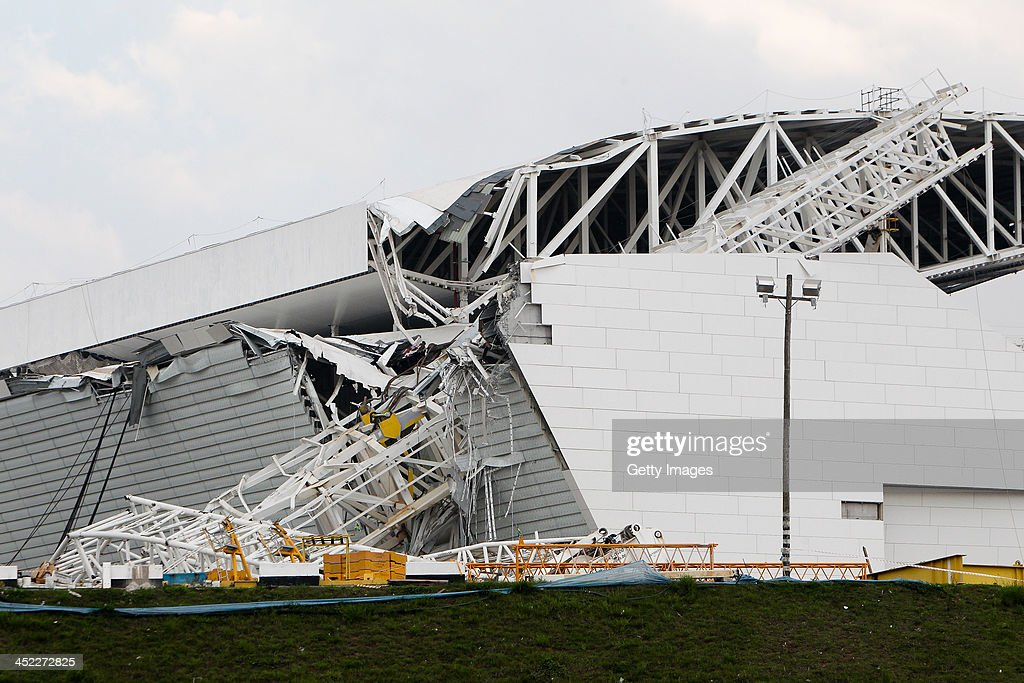 A crane collapsed during construction on November 27, 2013 at Itaquerao Stadium in Sao Paulo, Brazil. According to reports, three workers were killed in the accident.