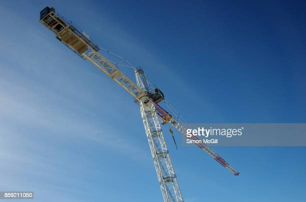 Crane on the construction site of an apartment building