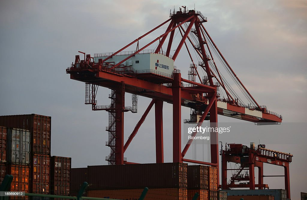 A crane stands at the Yangshan Deep Water Port, part of China (Shanghai) Pilot Free Trade Zone's Yangshan free trade port area, in Shanghai, China, on Wednesday, Oct. 23, 2013. The area is a testing ground for free-market policies that Premier Li Keqiang has signaled he may later implement more broadly in the world's second-largest economy. Photographer: Tomohiro Ohsumi/Bloomberg via Getty Images