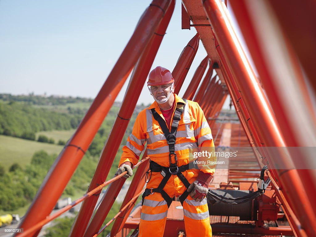 Crane Worker With Harness On Crane