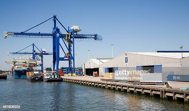 Cranes and warehouses quayside of container terminal Port of Rotterdam Netherlands