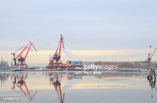 Cranes, Gothenburg Harbour, Sweden : Stock Photo
