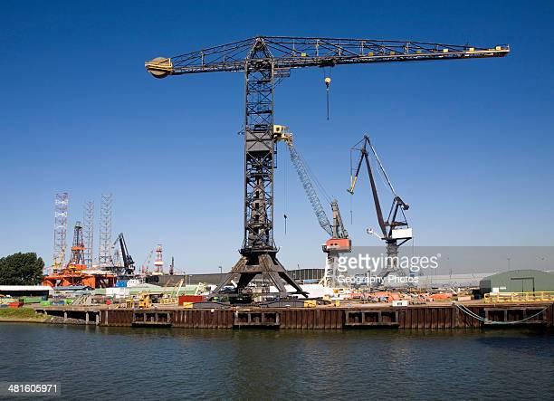 Cranes on quayside Verolme shipyard Port of Rotterdam Netherlands
