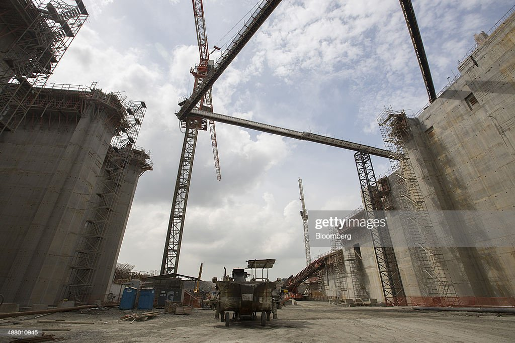 Cranes stand at the construction site for the third sets of locks on the Pacific side of the Panama Canal near Panama City, Panama, on Thursday, April 24, 2014. Panama's presidential contenders are winding down their campaigns ahead of the May 4 election as a strike by construction workers paralyzes the expansion of the country's signature waterway, its biggest economic resource. Photographer: Susana Gonzalez/Bloomberg via Getty Images