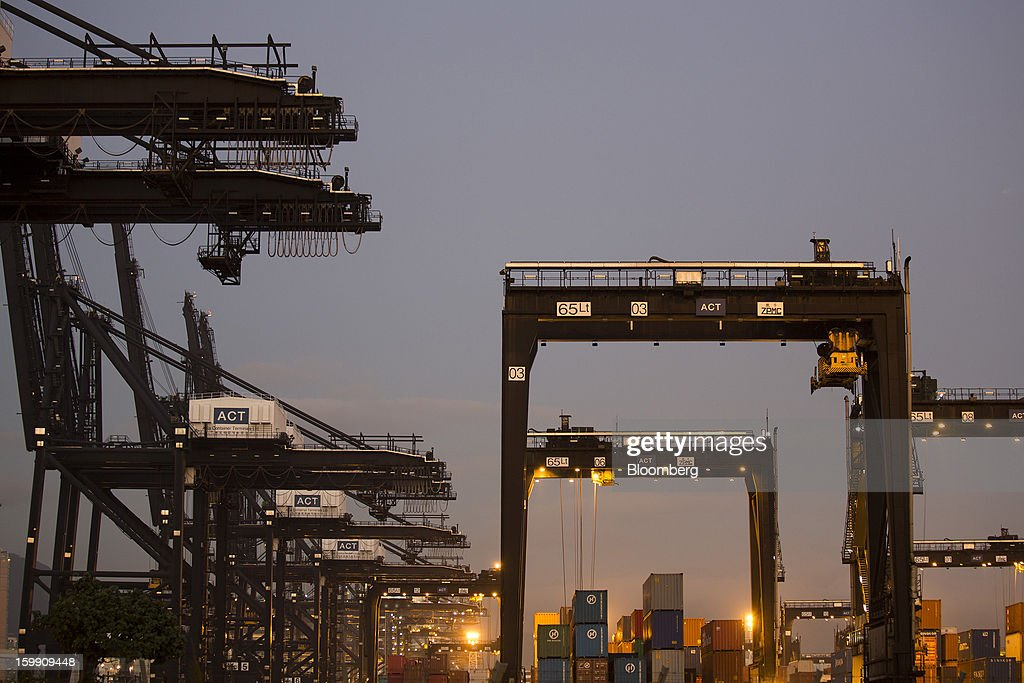 Cranes stand in the Kwai Tsing Container Terminals in Hong Kong, China, on Monday, Jan. 21, 2013. Hong Kong is scheduled to release export figures for December on Jan. 24. Photographer: Jerome Favre/Bloomberg via Getty Images