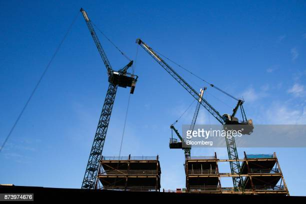 Cranes tower above the commercial building construction site at 100 Liverpool Street in the City of London UK on Monday Nov 13 2017 Investors spent...