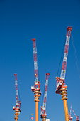 Cranes Under Blue Sky