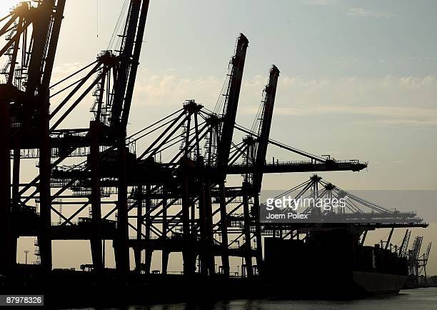 Cranes used to load containers on cargo ships are seen at the HHLA container terminal at the harbour of the northern German city of Hamburg on May 8...