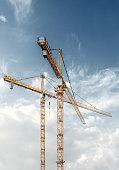 Cranes with blue sky