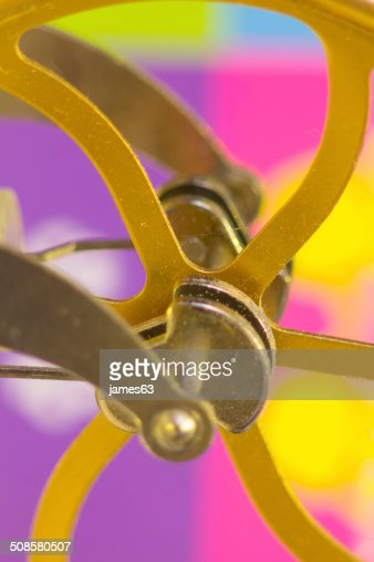 crank shafts and pulleys of machinery in bronze wheels : Stock Photo