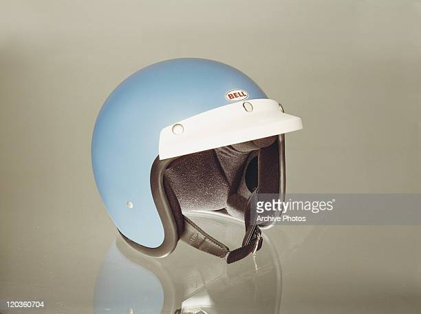 Crash helmet on white background, close-up