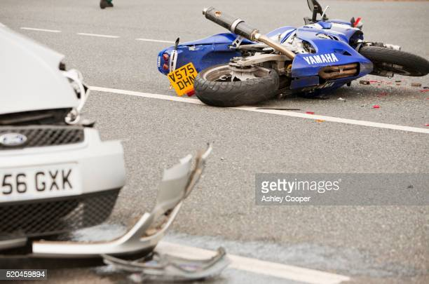 A crash on the A66 near Penrith, Cumbria, UK, involving a car and a motorbike.