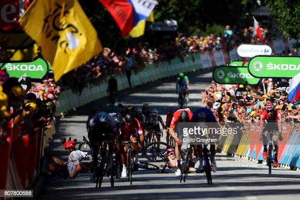 A crash on the finishing straight during stage four of Le Tour de France 2017 on July 4 2017 in Vittel France