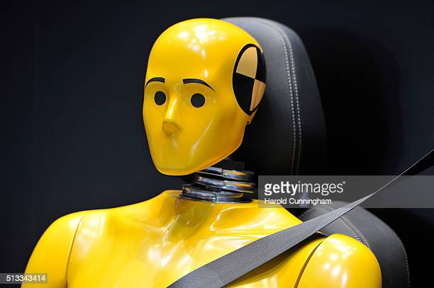 Crash test dummy is displayed during the Geneva Motor Show 2016 on March 2 2016 in Geneva Switzerland