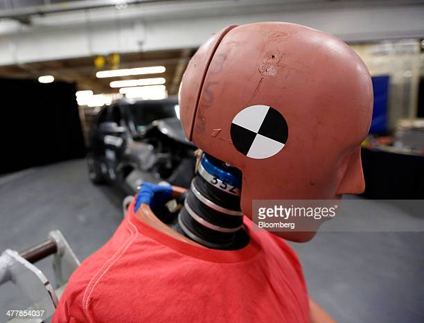 A crash test dummy sits before a test at Ford Motor Co's Crash Barrier Facility and Safety Laboratory at the company's Proving Grounds in Dearborn...