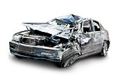 car in an accident isolated on a white background