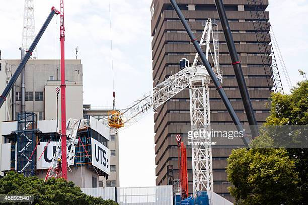 Crashed tower crane, construction site disaster