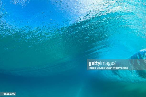 Crashing wave viewed underwater