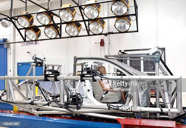 A crashtest dummy sits in a crashtesting sled at Takata's current crashtesting facility August 19 2010 in Auburn Hills Michigan Takata dedicated a...