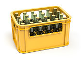 Crate full of beer bottles isolated on white background. 3d illustration
