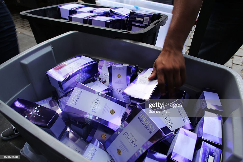 A crate of free vibrator sex toys which were being distributed by the Trojan condom company from their 'Pleasure Carts' on August 9, 2012 in New York City. The carts, which resemble traditional hot-dog carts, had to shut down during a give-away on Wednesday due to large crowds.