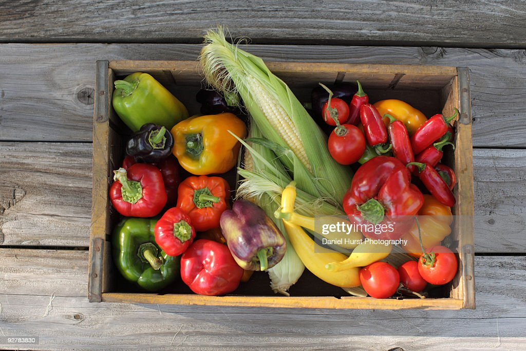 Crate of organic vegetables