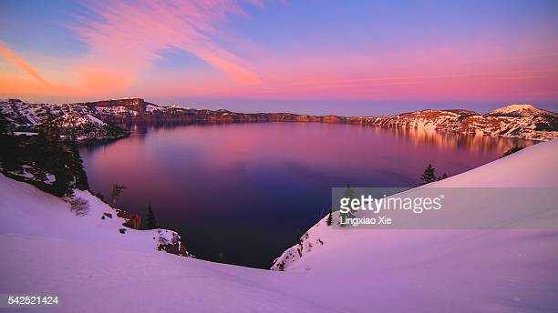 Crater Lake and Snow Covered Mount Mazama at Dusk