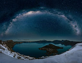 The panoramic view of Crater Lake with fine art Milkyway