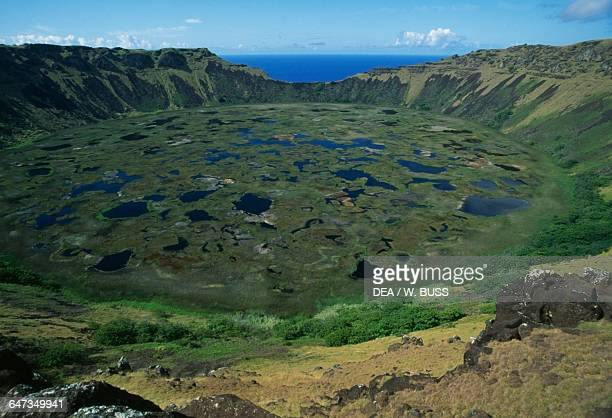 Crater of the Rano Kau volcano Rapa Nui National Park Easter Island Chile