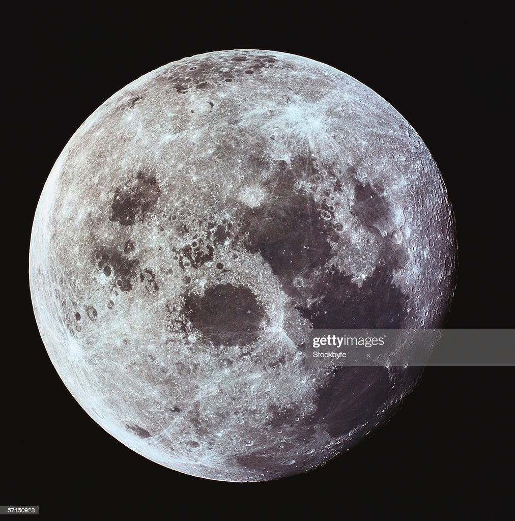 Craters on the surface of the moon : Stock Photo