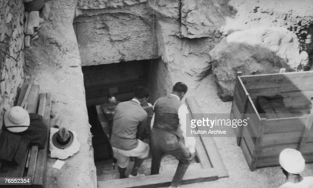 Crates are brought out of the newlydiscovered tomb of Tutankhamun in the Valley of the Kings Luxor circa 1923