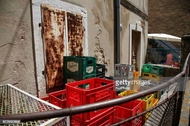 Crates for beer and soft drinks are seen in Omisalj Croatia on 28 July 2017