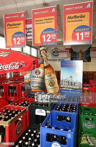 Crates of beer are stored in a supermarket on September 12 2007 in Landsberg am Lech Germany The German Association of Brewers recently announced...