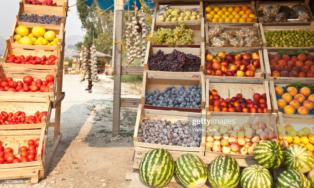 Crates of produce for sale