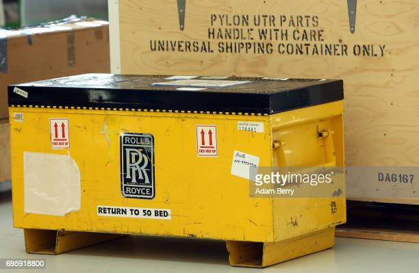 Crates with a RollsRoyce logo and parts are seen on the assembly line for the RollsRoyce Trent XWB airplane engine to be used in the Airbus A350 XWB...