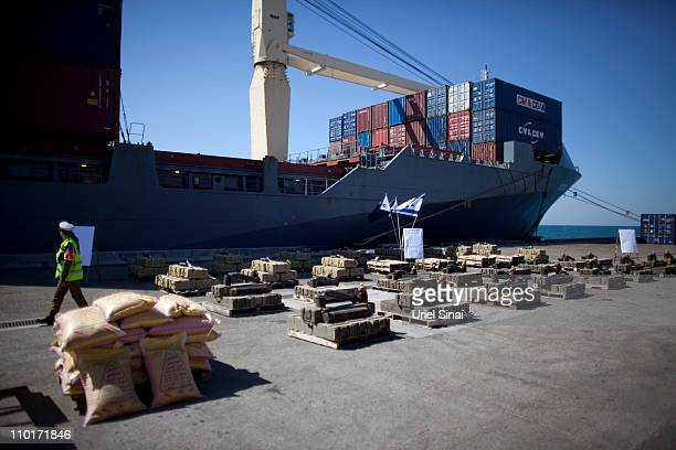 Crates with weapons are displayed on a dock by the Israeli Army on March 16 in the port of Ashdod Israel According to the Israeli Army 50 of tonnes...