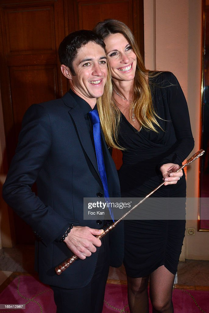 Cravaches d'Or 2013 awarded jockey <a gi-track='captionPersonalityLinkClicked' href=/galleries/search?phrase=Christophe+Soumillon&family=editorial&specificpeople=453308 ng-click='$event.stopPropagation()'>Christophe Soumillon</a> and his wife Miss France 1998 Sophie Thalmann attend the 'Cravaches D'Or' Awards 2013 At Theatre des Champs Elysees In Paris on April 3, 2013 in Paris, France.