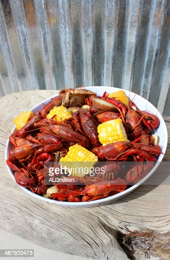 Crawfish Boil Plated on Rustic Wood Table : Stock Photo