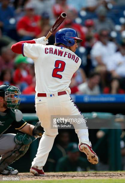 P Crawford of the Philadelphia Phillies in action against the Oakland Athletics during a game at Citizens Bank Park on September 17 2017 in...