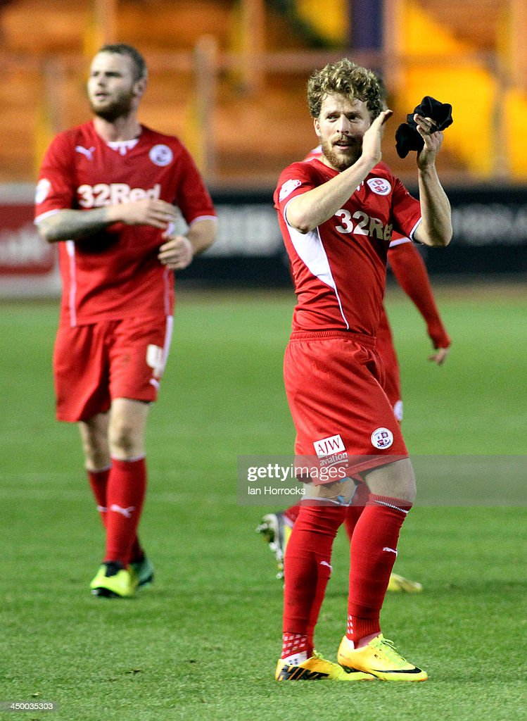 Crawley goal scorer Billy Clarke celebrates on the final whistle during the Sky Bet League one match between Carlisle United and Crawley Town at Brunton Park on November 16, 2013 in Carlisle, England