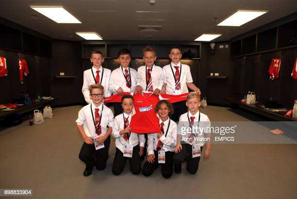 Crawley Town represented by The Oaks Primary school in the dressing room prior to the KinderSport Football League Kids Cup Final