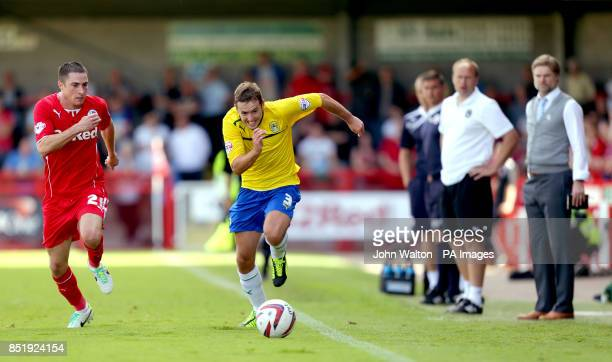 Crawley Town's Mike Jones and Coventry City's Blair Adams during the Sky Bet League One match at Broadfield Stadium Crawley