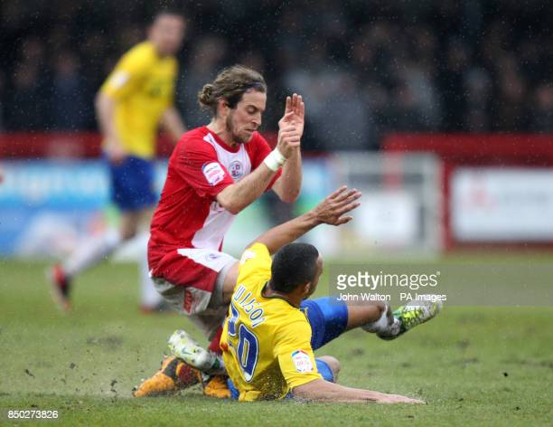 Crawley Town's Sergio Torres and Coventry City's Callum Wilson battle for the ball