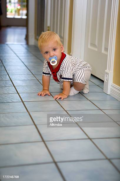 crawling baby in the hall