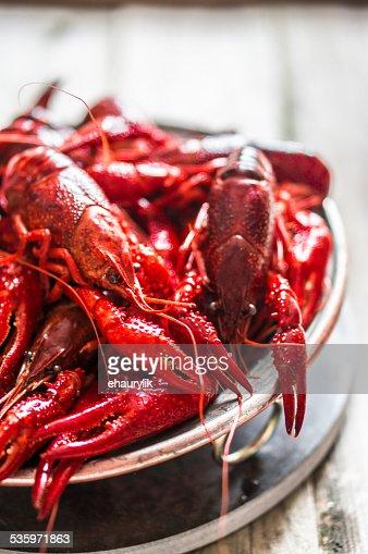 Crayfish on wooden background : Stock Photo