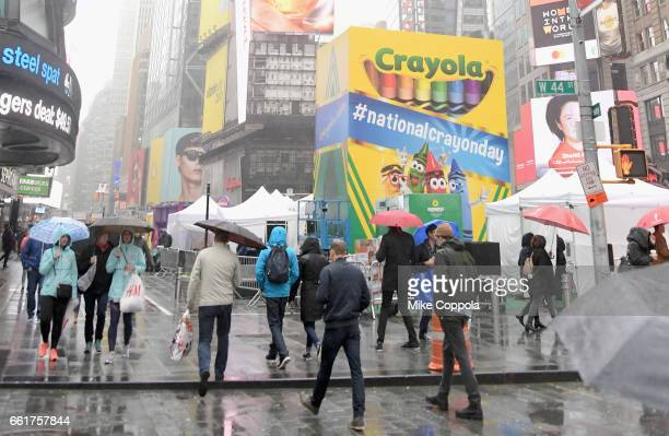 Crayola brightens up Tiimes Square on National Crayon Day on March 31 2017 in New York City