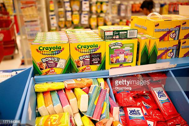 Crayola LLC crayons and other school supplies sit for sale in the back to school section inside a Target Corp store in Torrance California US on...