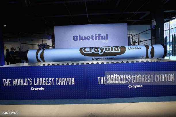 Crayolas newest blue crayon Bluetiful which is 156 feet in length and weighs 1352 pounds earned the GUINNESS WORLD RECORDS title for Largest crayon...